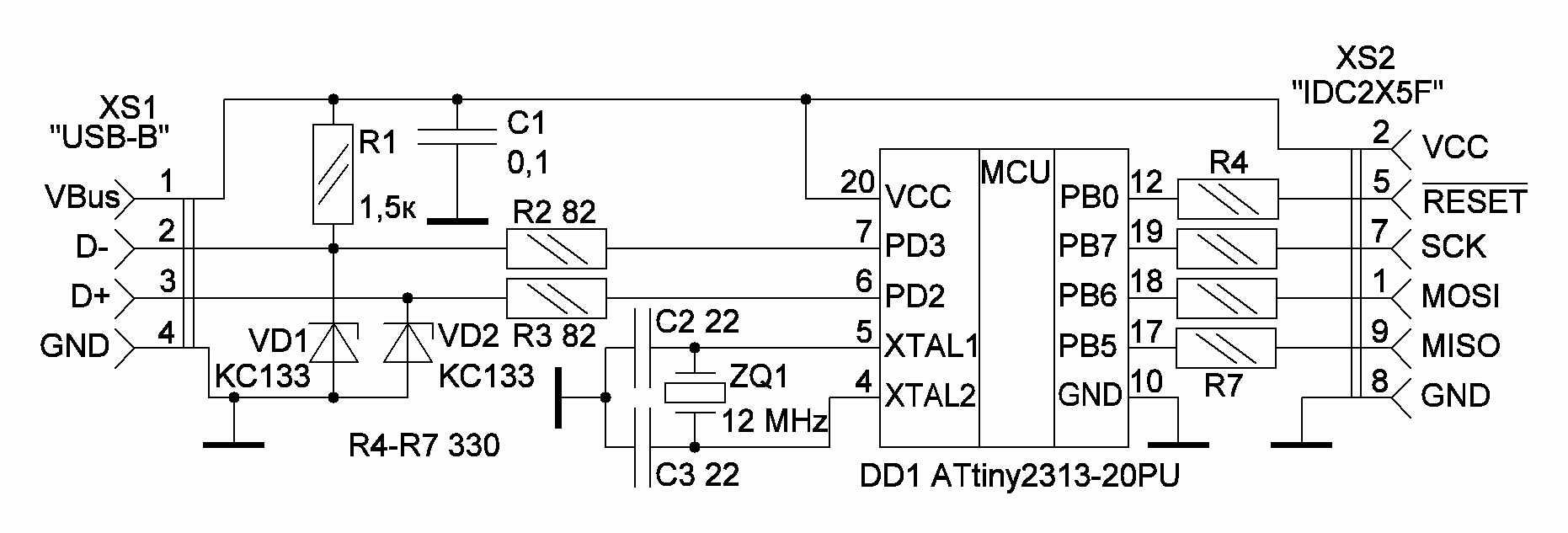 Attiny2313 и usb схема