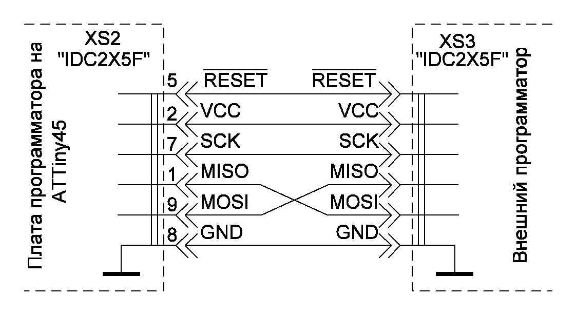 Рисунок 12 - Подключение внешнего программатора при прошивке ATTiny45.